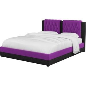 Интерьерная кровать Мебелико Камилла микровельвет фиолетово-черный все цены
