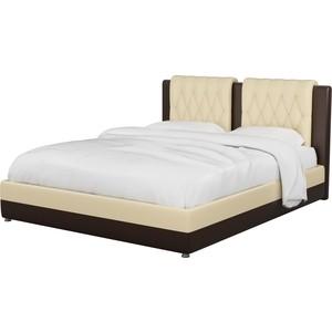 Интерьерная кровать АртМебель Камилла эко-кожа бежево-коричневый