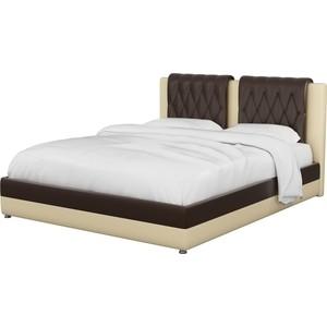 Интерьерная кровать АртМебель Камилла эко-кожа коричнево-бежевый кровать артмебель сицилия эко кожа бежевый