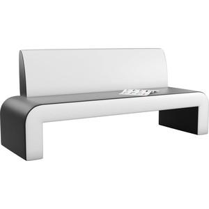 Кухонный диван АртМебель Кармен эко-кожа черно/белый