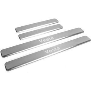цена на Накладки на пороги Rival для Lada Vesta (2015-н.в.), нерж. сталь, с надписью, 4 шт., NP.6007.3