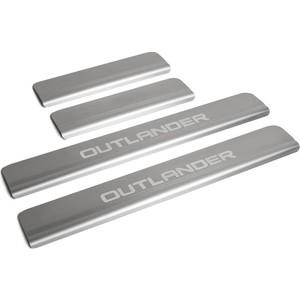 Накладки на пороги Rival для Mitsubishi Outlander III рестайлинг (2015-н.в.), нерж. сталь, с надписью, 4 шт., NP.4006.3