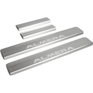 Накладки порогов Rival для Nissan Almera (2013-н.в.), нерж. сталь, с надписью, 4 шт., NP.4104.3