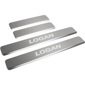 Накладки на пороги Rival для Renault Logan II (2014-н.в.), нерж. сталь, с надписью, 4 шт., NP.4701.3