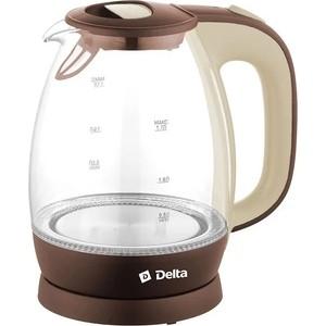 Чайник электрический Delta DL-1203 коричневый с бежевым цена и фото