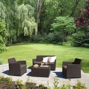 Комплект мебели с диваном Afina garden AFM-2018A brown/cappuccino (имитация ротанга) 4Pcs 4pcs diamond solar powered led colorful garden light