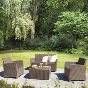 Комплект мебели с диваном Afina garden AFM-2018B beige/beige (имитация ротанга) 4Pcs