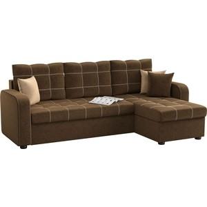 Угловой диван АртМебель Ливерпуль микровельвет коричневый правый угол