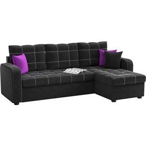 Угловой диван Мебелико Ливерпуль микровельвет черный правый угол