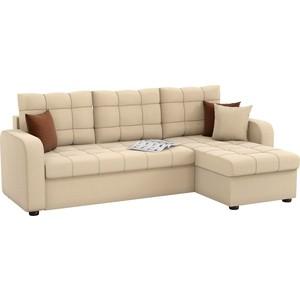 Угловой диван Мебелико Ливерпуль рогожка бежевый правый угол