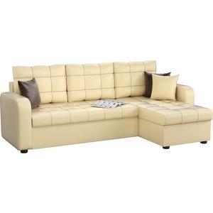 Угловой диван Мебелико Ливерпуль эко-кожа бежевый правый угол