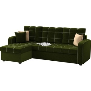 Угловой диван Мебелико Ливерпуль микровельвет зеленый левый угол