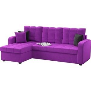 Угловой диван АртМебель Ливерпуль микровельвет фиолетовый левый угол
