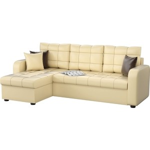 Угловой диван Мебелико Ливерпуль эко-кожа бежевый левый угол угловой диван мебелико камелот эко кожа бежевый левый угол