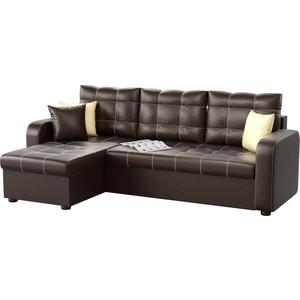 Угловой диван Мебелико Ливерпуль эко-кожа коричневый левый угол фото