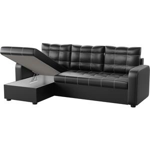 Угловой диван Мебелико Ливерпуль эко-кожа черный левый угол кушетка мебелико принц эко кожа бело черный левый