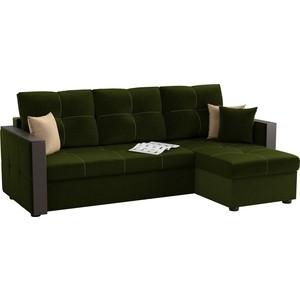 Угловой диван АртМебель Валенсия микровельвет зеленый правый угол диван угловой артмебель принстон микровельвет зеленый правый угол