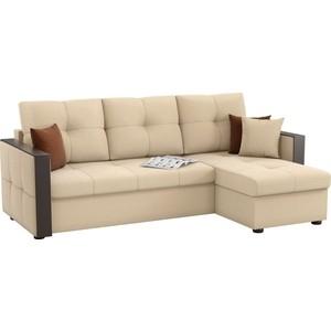 Угловой диван Мебелико Валенсия рогожка бежевый правый угол