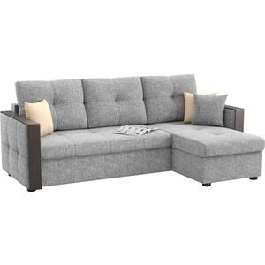 Угловой диван Мебелико Валенсия рогожка серый правый угол