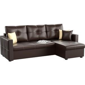Угловой диван АртМебель Валенсия эко-кожа коричневый правый угол диван угловой артмебель брюсель эко кожа коричневый правый угол