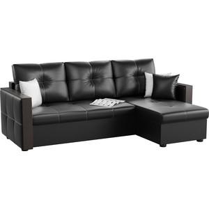 Угловой диван Мебелико Валенсия эко-кожа черный правый угол угловой диван мебелико валенсия эко кожа бежевый левый угол