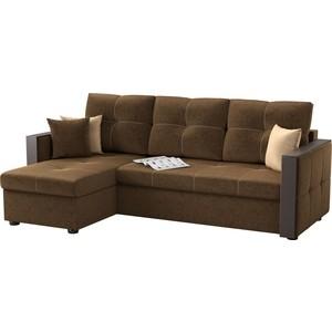 Угловой диван Мебелико Валенсия микровельвет коричневый левый угол