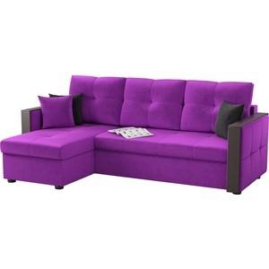 Угловой диван АртМебель Валенсия микровельвет фиолетовый левый угол