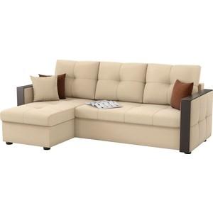 Угловой диван Мебелико Валенсия рогожка бежевый левый угол