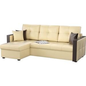 Угловой диван Мебелико Валенсия эко-кожа бежевый левый угол угловой диван мебелико валенсия эко кожа бежевый левый угол