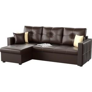 Угловой диван АртМебель Валенсия эко-кожа коричневый левый угол цена