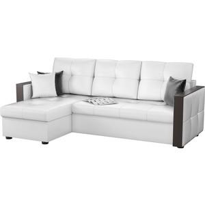 Угловой диван Мебелико Валенсия эко-кожа белый левый угол