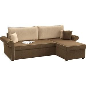 Угловой диван АртМебель Милфорд микровельвет коричнево-бежевый правый угол