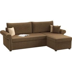 Угловой диван АртМебель Милфорд микровельвет коричневый правый угол диван угловой артмебель атланта микровельвет коричневый правый