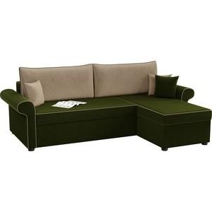 Угловой диван АртМебель Милфорд микровельвет зелено-бежевый правый угол