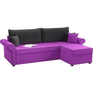 Угловой диван АртМебель Милфорд микровельвет фиолетово-черный правый угол