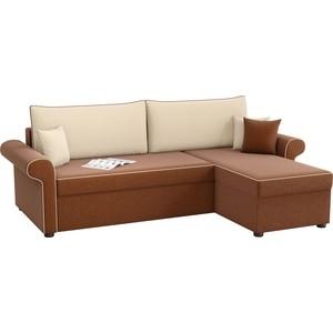 Угловой диван Мебелико Милфорд рогожка коричнево-бежевый правый угол