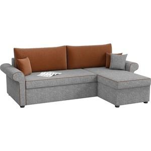 Угловой диван Мебелико Милфорд рогожка серо-коричневый правый угол