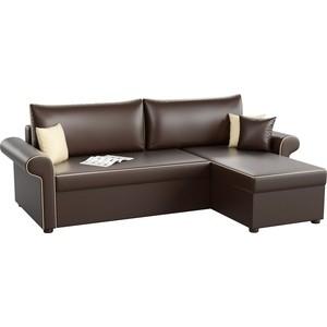 Угловой диван АртМебель Милфорд эко-кожа коричневый правый угол фото