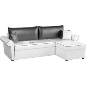Угловой диван Мебелико Милфорд эко-кожа бело-черный правый угол фото
