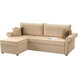Угловой диван Мебелико Милфорд микровельвет бежевый левый угол