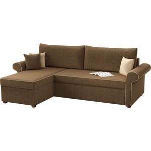 Угловой диван АртМебель Милфорд микровельвет коричневый левый угол