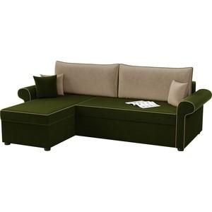 Угловой диван АртМебель Милфорд микровельвет зелено-бежевый левый угол