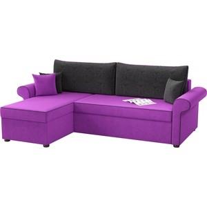 Угловой диван Мебелико Милфорд микровельвет фиолетово-черный левый угол