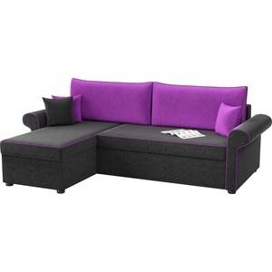 Угловой диван АртМебель Милфорд микровельвет черно-фиолетовый левый угол
