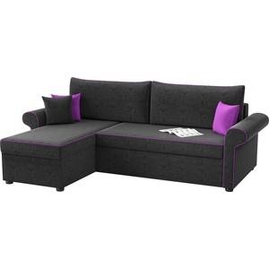 Угловой диван Мебелико Милфорд микровельвет черный левый угол