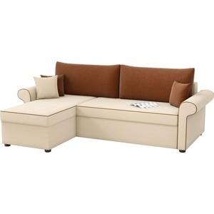 Угловой диван Мебелико Милфорд рогожка бежево-коричневый левый угол