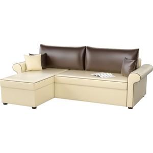 Угловой диван Мебелико Милфорд эко-кожа бежево-коричневый левый угол