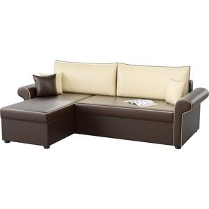 Угловой диван Мебелико Милфорд эко-кожа коричнево-бежевый левый угол