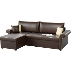 Угловой диван Мебелико Милфорд эко-кожа коричневый левый угол угловой диван мебелико камелот эко кожа белый левый угол