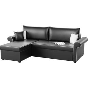 Угловой диван Мебелико Милфорд эко-кожа черный левый угол